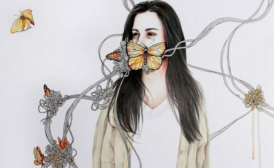 mujer-con-mariposas-en-la-boca